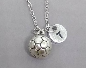 Soccer Ball necklace, Soccer Ball Jewelry, Sports Necklace, Initial Charm Necklace, Soccer Ball Gift, Personalized Necklace