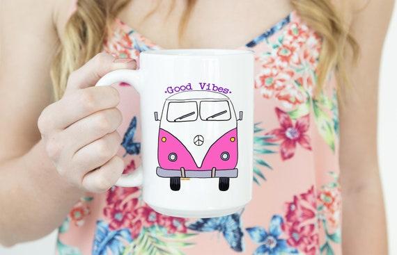 VW Bus Mug -  15oz Coffee and Tea Mug - Good Vibes Mug - Uplifting Living - Ceramic Mug - Drinkware - Coffee - Tea  Printed in USA