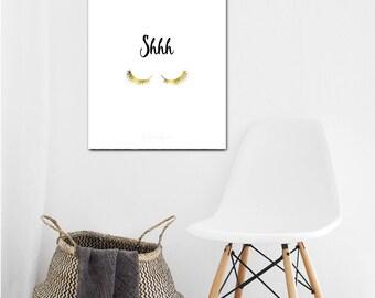 Shhh sign, Printable Gold Lashes Quiet Wall Art, digital Black White door sign, do not disturb dorm decor, baby shower gift, 8x10 14x18 jpg