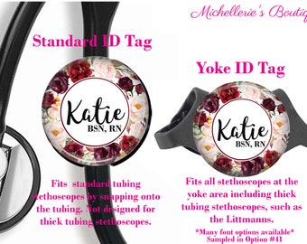 Personalized Stethoscope ID tag, Burgundy Floral Watercolor Stethoscope Id Tag, Stethoscope Name Id tag,Stethoscope Name Tag, MB465