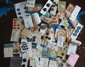 Vintage button lot on cards