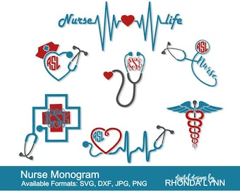 SALE! Nurse SVG, dxf, jpg, png vector cut file | Nurse Monogram | Stethoscope SVG | Stethoscope Monogram | Nurse Life svg | Heartbeat svg