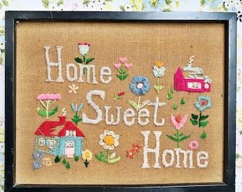 Vintage rare large framed 70s crewel embroidered Home Sweet Home wall art wall hanging