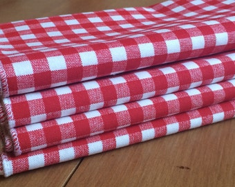 Red and White Checks Cloth Napkins, Set of 12