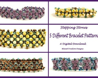 Right Angle Weave SuperDuo Tutorials and Pellet Bead Patterns for Beaded Bracelets