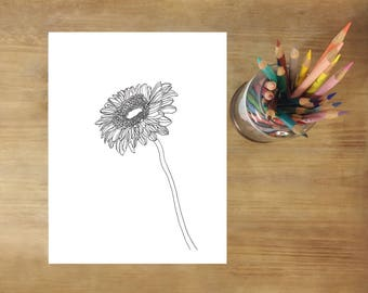 Mindfulness Coloring Pages Pdf : Flower coloring page etsy