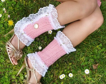 Victorian Style Leg Warmers - Rose Spats with White Lace - Kawaii Fashion Accessories