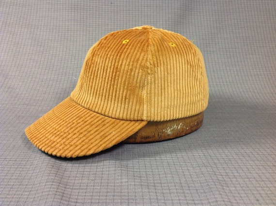 Old Gold wide wale corduroy 6 panel cap, Fitted to any size, cotton sweatband