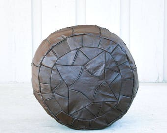 Brown Egyptian Handmade Genuine Leather Ottoman Pouf