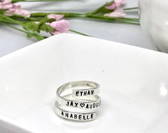 Name Rings - Personalized Name Ring - Hand Stamped Sterling Silver Rings - Personalized - Mother's Day Gift Ideas - Gifts for Her -