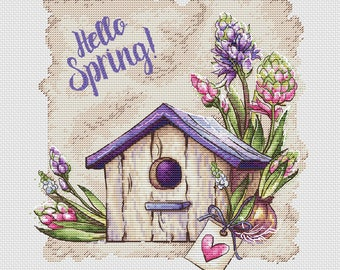 Birdhouse with flowers pdf counted cross stitch pattern spring flowers instant download pdf pattern violet color wall decor cross stitch