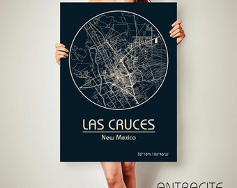 LAS CRUSES New Mexico CANVAS Map Las Cruces New Mexico Poster City Map Las Cruces New Mexico Art Print Las Cruces New Mexico