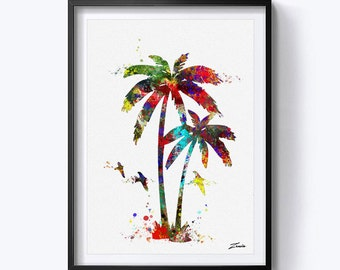 palm art print watercolor palm poster print art decoe palm wall art print palm watercolour painting gift for her A150