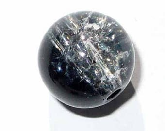Black and Crystal 12 mm VCR37 3 cracked round beads