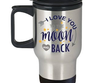Valentines Travel Mug | I Love You To The Moon And Back Coffee Mug | Valentines Day Gift | Girlfriend Mug | Girlfriend Gift | Boyfriend Mug