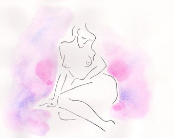Sitting nude sketch. Line art plus pink watercolor painting. Original woman drawing. Art for bedroom. Pink and purple tones.