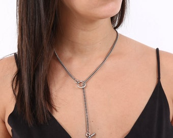 Silver Lariat Necklace - Silver Y necklace - Long Necklace - Silver Necklace - Statement Necklace - Layering Necklace - Layered Necklace
