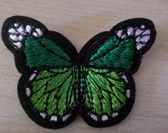 fusible badge/patch applique 1 x green embroidered Butterfly