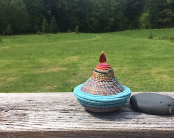 Turquoise Pine Needle Basket
