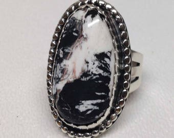 White Buffalo Turquoise Ring, White Buffalo Statement Ring, Sterling Silver White Buffalo Ring