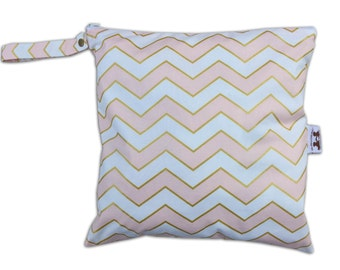 SALE / Large Wet Bag in Chic Chevron with Snap Handle
