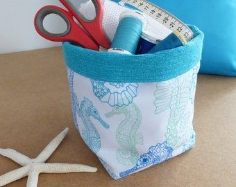 Craft storage, Fabric storage basket, Aqua, Seahorses, Coastal, Storage bin, Gift basket, Fabric basket, Kitchen organiser