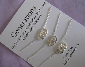 Generations Necklace. Birthday GRANDMOTHER Mother Daughter. Grandmother Granddaughter Jewelry. 60th BIRTHDAY Gift Grandmother Necklace