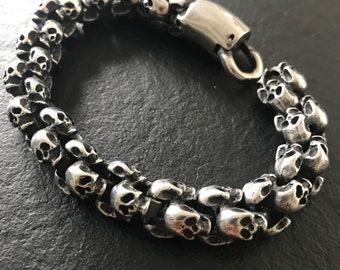 20 cm stainless steel skull bracelet