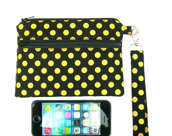 Phone holder. 5s pouch. iPhone case. iPhone 5s wristlet. Cell phone wristlet. Black and gold iPhone purse.  cell phone zipped purse