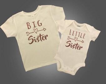 Siblings Shirts / Sibling sets / Preemie clothes /  preemie girl clothes / preemie girl bodysuit / big sister / matching sibling shirts /
