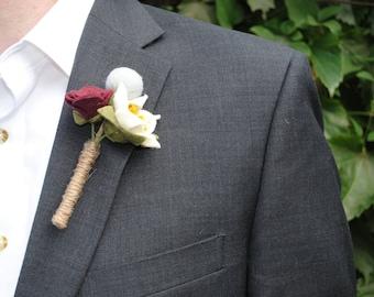 Felt Flower Boutonniere, Groomsman Corsage, Boutonniere