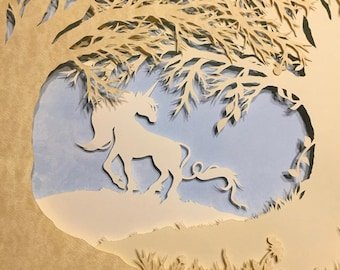 Unicorn Glade Papercutting--Unicorn Scherenschnitte--Unicorn Papercutting--Unicorn Paper Art--Unicorn Fantasy Art