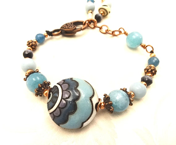 Boho Rustic Golem Studio Ceramic and Amazonite, Blue Apatite and Copper Bracelet