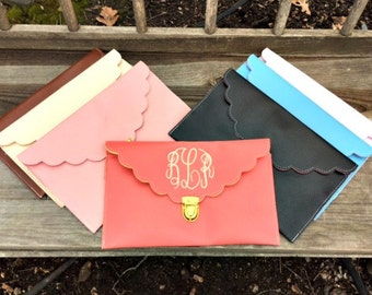 SALE-Scalloped Edge~Monogrammed Envelope Clutch-Leather Clutch-Monogram Included-Choose your Color