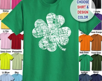Distressed Shamrock design T-Shirt - Adult Unisex - We carry sizes S - 5XL in 30 Colors!