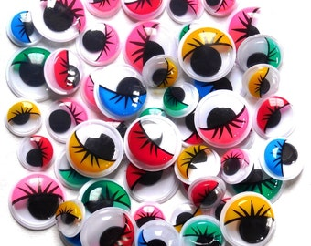 Wiggle Eyes, with Eyelashes 50 assorted sizes and colours