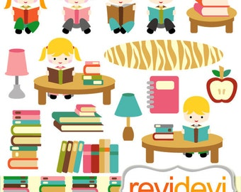 Reading clipart / kids sit read book clip art / back to school clipart, library, boys girls sitting reading books clipart / school clip art