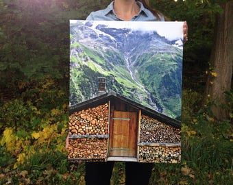 Nature Photography on Canvas- Farmers Shed in Gimmelwald, Switzerland, travel photo wrapped wall canvas, Mountain Wall Art