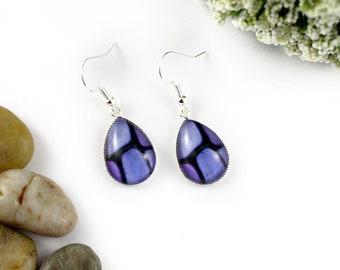 Light Purple Earrings - Teardrop Glass Earrings - Stained-Glass Earrings - Silver Earrings - Art Nouveau Art - Violet Earrings - Mosaic