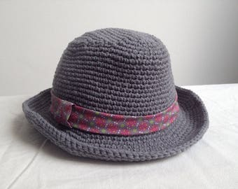 Charcoal gray trilby crocheted handmade Hat