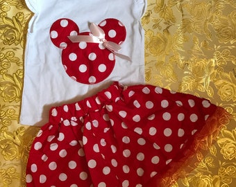 Disney Minnie Mouse Polka Dot Character Inspired Red White Skirt Shirt Top Flutter Sleeves Girls Outfit 2 piece