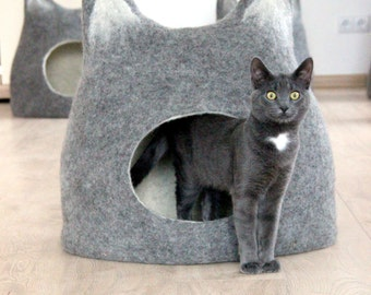 Pet bed - Cat bed - cat cave - cat house - eco-friendly handmade felted wool cat bed - natural grey with natural light - made to order