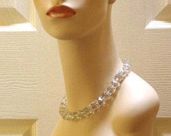 Vintage Large Clear Glass Bead Necklace w/ Ornate Sterling Silver Clasp