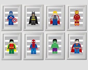 superhero wall art PRINTS, super hero, superhero set of 8 prints, shipped to your door, high quality 8x10 inch each, superhero nursery