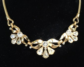 MAZER Bros. Exquisite Gold Tone Fancy Cut Rhinestone Necklace