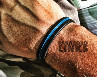 Thin Blue Line - Black Silicone Bracelet