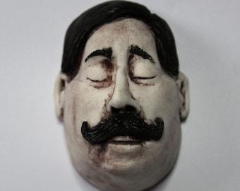 Porcelain Wall Hanging Man's Face Handlebar Moustache