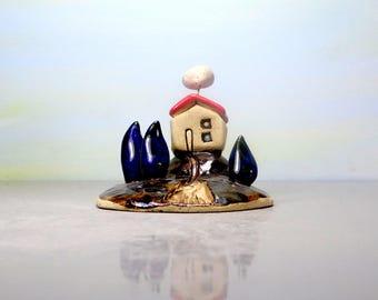 Miniature house, Ceramic house, Little house, Small house, Clay house, Miniature doll house, Fairy house, Ceramics and pottery, Home decor