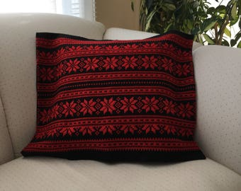 """Hand woven decorative cushion cover Hungarian folk motif black and red cushion cover 20"""" by 16"""""""