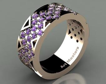 Mens Avant Garde 14K Rose Gold Lavender Amethyst Wedding Band R805M-14KRGAM